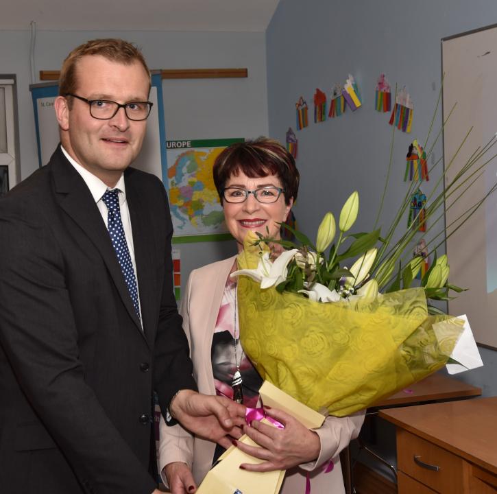 Minister John Paul Phelan with Theresa Delahunty
